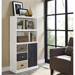 2 Shelf Bookcase with Storage Drawers in White