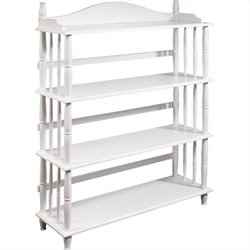 4 Shelf Spindle Leg Bookcase in White