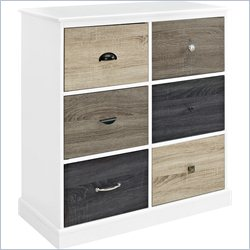 6 Door Storage Cabinet with Multicolored Doors in White