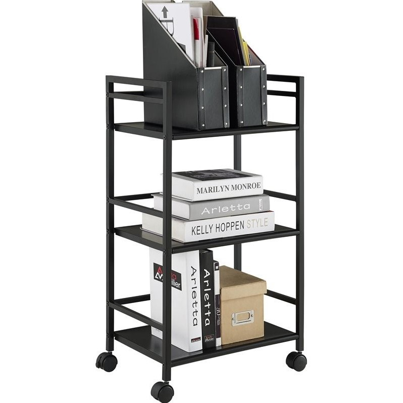 3 Shelf Metal Rolling Utility Cart In Black 7741196pcom