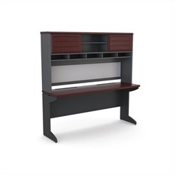 Credenza and Hutch Bundle in Cherry and Gray