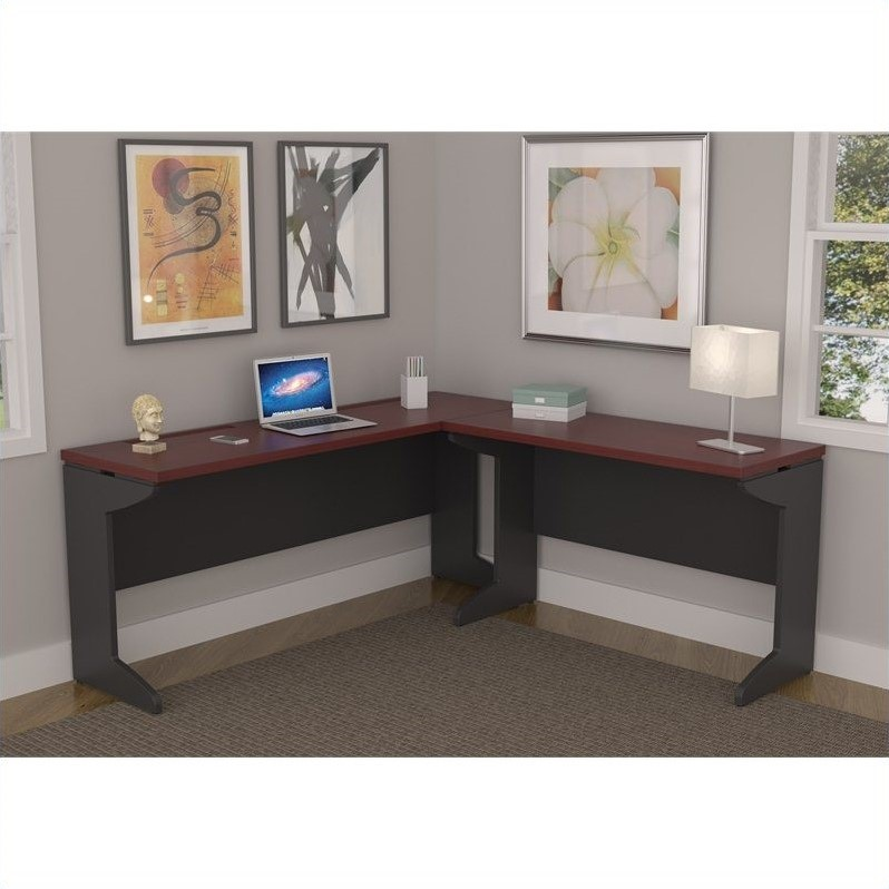L Shaped Desk In Cherry And Gray 9846196