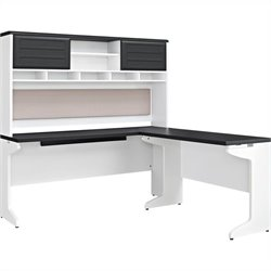L Shaped Desk with Hutch in White and Gray