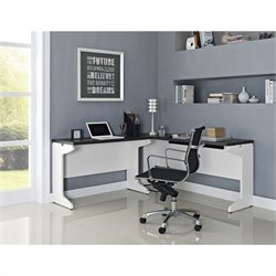 Altra Furniture Pursuit L Shaped Desk in White and Gray