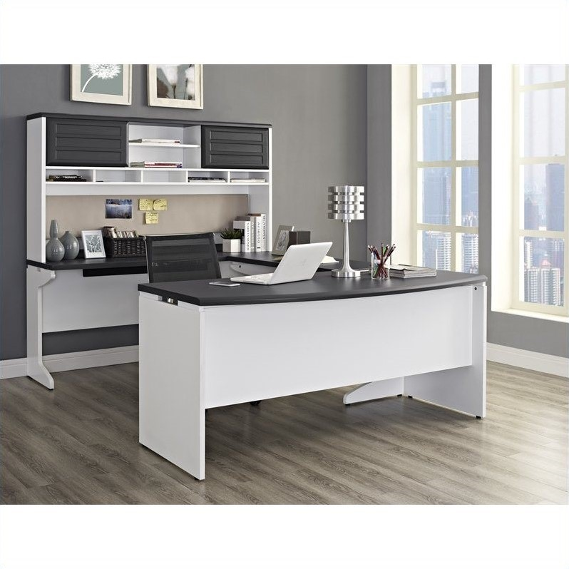 U Configuration Office Set In White And Gray 9347296
