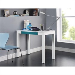 1 Drawer Home Office Desk in White and Teal