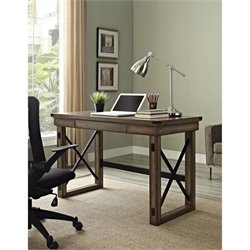 Rustic Desk with Metal Frame