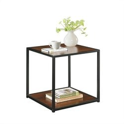 End Table with Metal Frame in Cherry