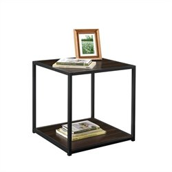 End Table with Metal Frame in Espresso