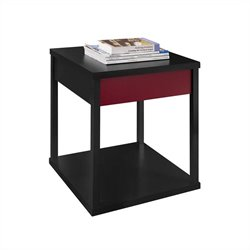 End Table Black Finish with Red Drawer Front