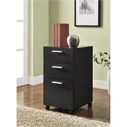 3 Drawer Mobile File Cabinet in Espresso