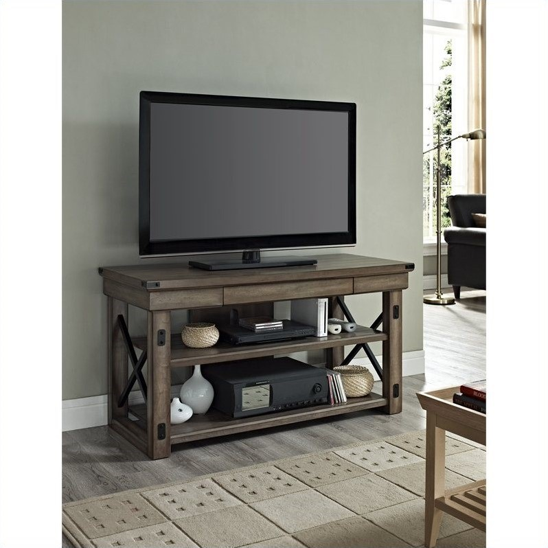Rustic Tv Console With Metal Frame 1735096