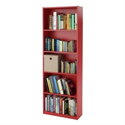 5-Shelf Bookcase in Ruby Red