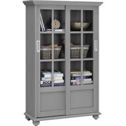 4-Shelf Glass Door Bookcase in Soft Gray