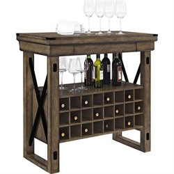 Wood Veneer Bar Cabinet in Rustic Gray