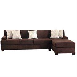Poundex Bobkona Hudson Reversible Sectional Sofa in Chocolate