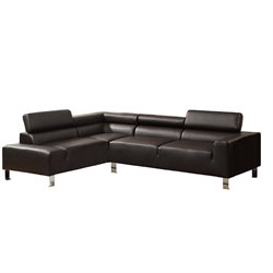 Poundex Bokona Miter Bonded Leather Sectional in Espresso