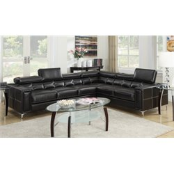 Poundex Bobkona Claxton Leather Sectional