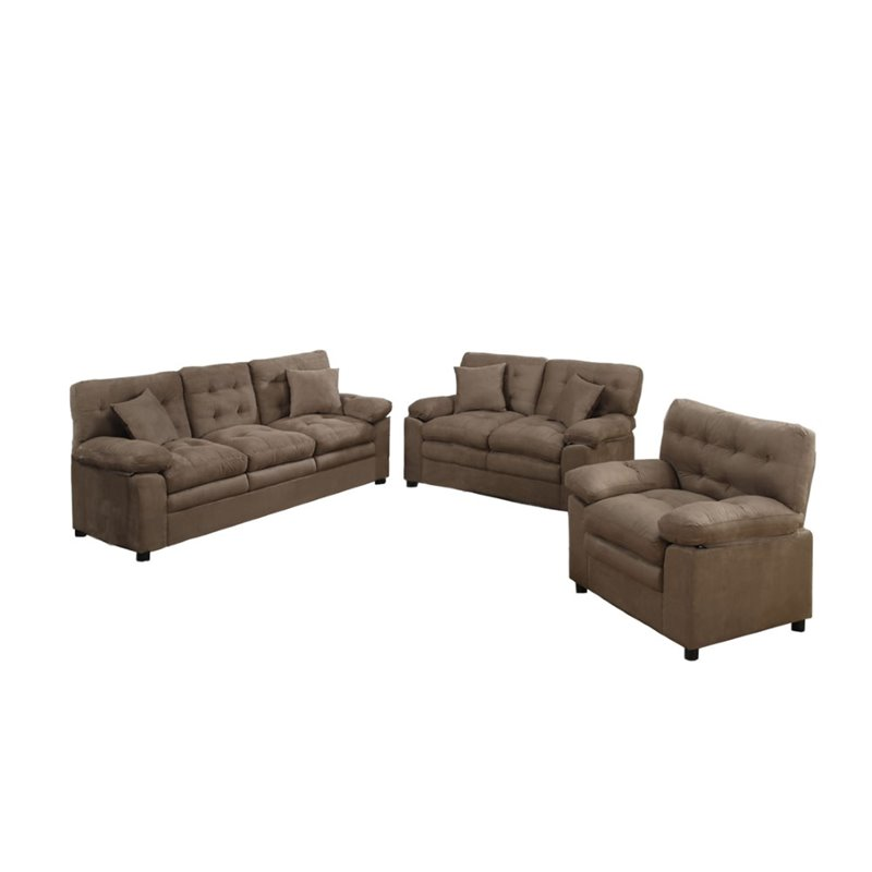 Poundex Bobkona Colona 3 Piece Sofa Set In Dark Brown F7910