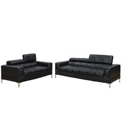 Poundex Bobkona Sierra 2 Piece Leather Sofa Set