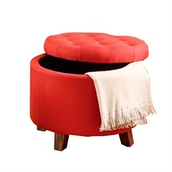 Poundex Round Leather Tufted Storage Ottoman