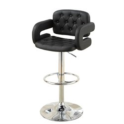 Poundex Faux Leather Upholstered Adjustable Bar Stool (Set of 2) (B)