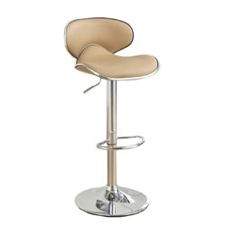 Poundex Upholstered Adjustable Swivel Bar Stool (Set of 2) (B)