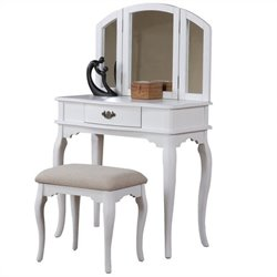 Poundex Bobkona Jaden Vanity Set with Stool in White
