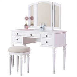 Poundex Bobkona St. Croix Vanity Set with Stool in White