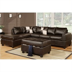 Poundex Bobkona 3 Piece Leather Sectional in Espresso