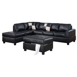 Poundex Bobkona Hampshire 3-Piece Sectional in Black