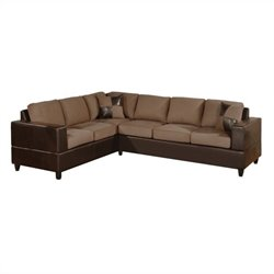 Poundex Bobkona Trenton 2-Piece Sectional with Accent Pillows in Saddle