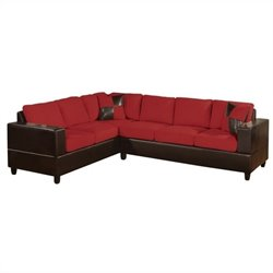 Poundex Bobkona Trenton 2-Piece Sectional with Accent Pillows in Red