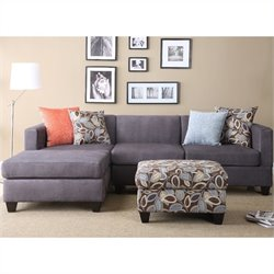 Poundex Simplistic Microfiber 3PC Sectional with Ottoman in Charcoal