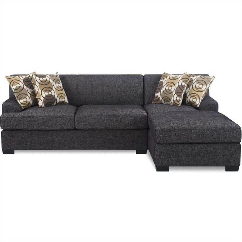 Poundex Benford Faux Linen Chaise-Love Sectional in Ash Black