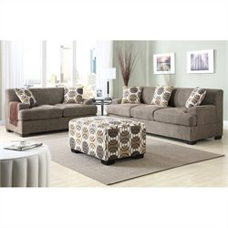 Poundex Benford Faux Linen Sofa and Loveseat Set in  Slate