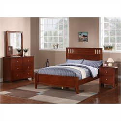 Poundex 4 Piece Bedroom Set in Medium Oak