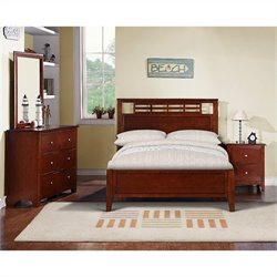 Poundex 4 Piece Youth Bedroom Set in Medium Oak