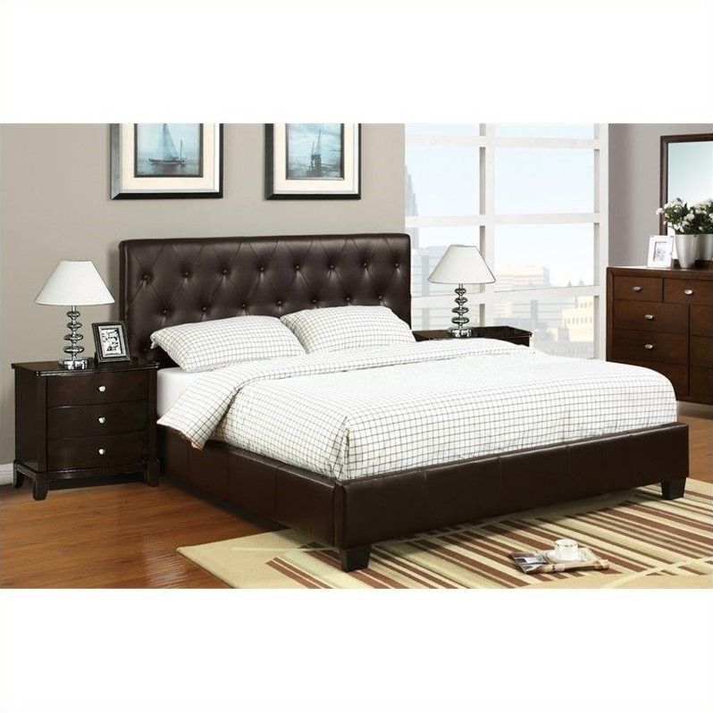 sets poundex 3 piece faux leather queen size bedroom set in dark brown