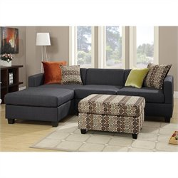 Poundex Bobkona Dayton 3 Piece Sectional Sofa in Slate Black