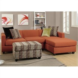 Poundex Bobkona Dayton 3 Piece Reversible Sectional Sofa in Canyon