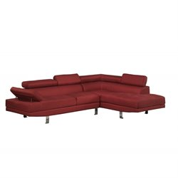 Poundex Bobkona Vegas 2 Piece Sectional Sofa in Red