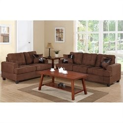 Poundex Bobkona Arcadia Sofa and Loveseat Set in Chocolate