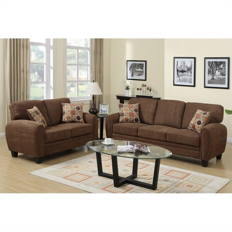 Poundex Bobkona Torrance Sofa And Loveseat Set In Dark