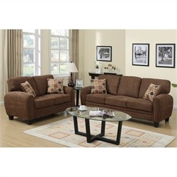 Poundex Bobkona Torrance Sofa and Loveseat Set in Dark Brown