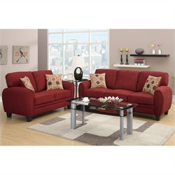 Poundex Bobkona Torrance Sofa and Loveseat Set in Burgundy