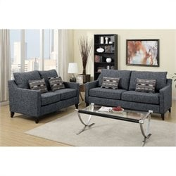Poundex Bobkona Connell Sofa and Loveseat Set in Dark Gray