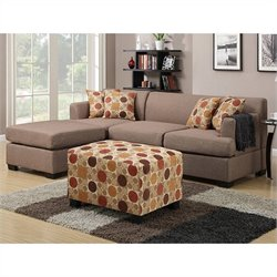 Poundex Bobkona Winfred 2 Piece Reversible Sectional Sofa in Stone