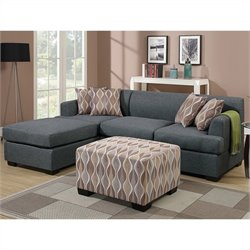 Poundex Bobkona Winfred 2 Piece Reversible Sectional Sofa in Blue Gray