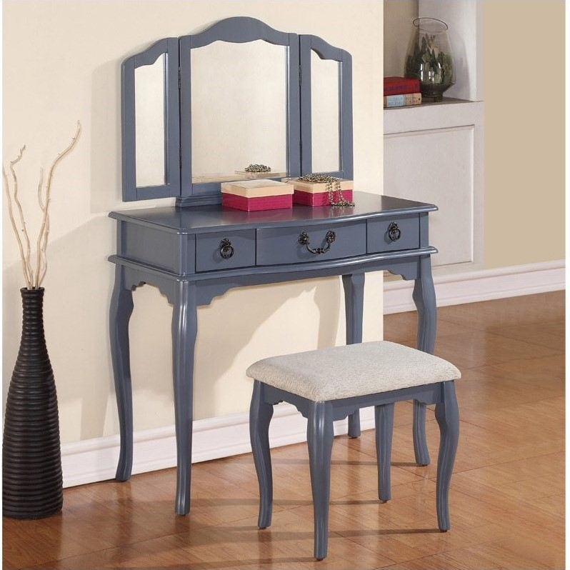 vanity table and stool set